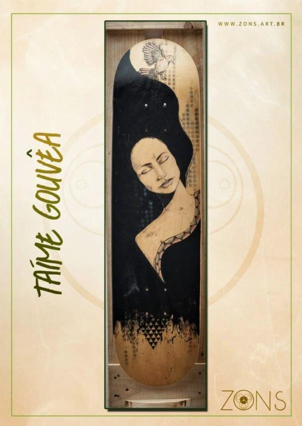 detalhe ahinsa em shape de skate (leilão - zons - aracaju - se)/nanquim, lápis de cor e maquiagem em madeira/ original vendido/ semterritorio