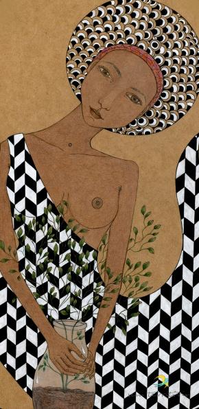 maria arruda/ nanquim, lápis de cor e maquiagem em mdf/ original vendido em galeria/ sem territorio