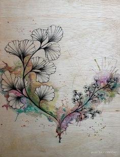 avencão/ compensado de madeira 30x40cm/ nanquim, lápis tricolor e tinta acrílica aquarelada/ semterritório