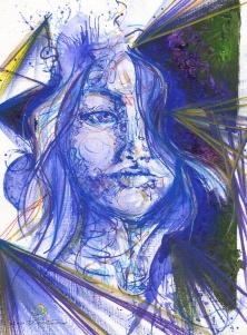azul/ acrílica e posca em papel figueiras 290gm/ 24x33cm/ original disponível para venda/ semterritorio