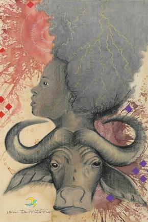 iansã/ café, maquiagem, grafite, aquarela e caneta posca em papel canson 300gm/ 30x42cm/ original disponível/ sem territorio