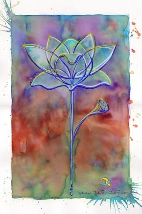 lótus lilás/ aqualine e caneta posca em papel montval 300gm/ 30x21cm/ original vendido/ sem território