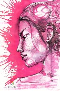 perfil rosa/ nanquim e aqualine em papel montval 300gm/ 21x30cm/ original disponível/ sem território