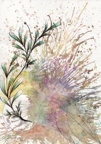 ramo/ nanquim, aquarela e lápis de cor em papel canson 300gm/ 20x30cm/ original vendido/ semterritorio