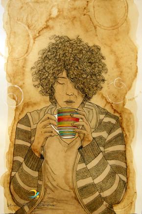 caneca colorida/ nanquim, café, maquiagem e lápis de cor em papel canson/ 21x30cm/ original indisponível para venda/ semterritorio