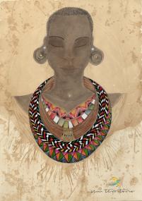 mulher africana com colar/ café, nanquim, lápis de cor e maquiagem em papel canson/ 42x60cm + moldura/ original disponível para venda/ semterritorio