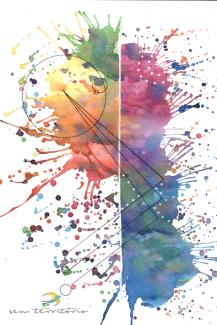 abstrato/nanquim, aquarela e caneta posca em papel canson 300gm/21x30/original vendido/semterritorio