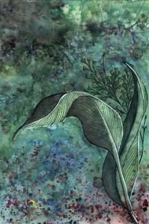 folhas verdes/ nanquim, aquarela, maquiagem e caneta posca em papel canson 300gm/ 21x30cm/ original indisponível/ semterritorio