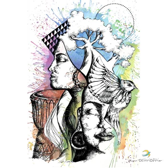 ilustração de capa para cd VIBRAMUNDO/nanquim, aquarela e caneta posca em papel canson 300gm/21x30/original disponível/ semterritorio