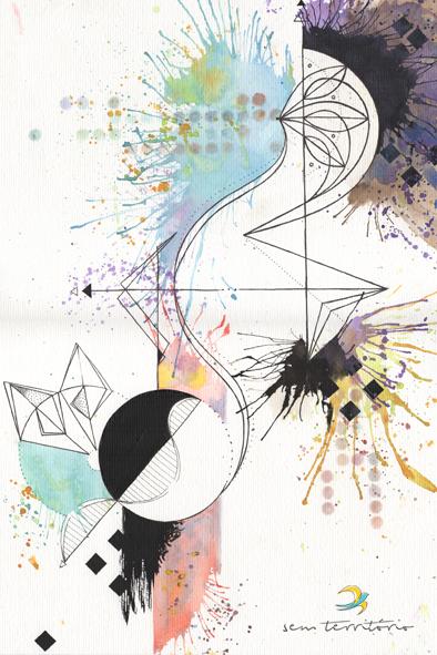 abstrato/nanquim, aquarela e caneta posca em papel canson 300gm/21x30/tatuagem para paula/original indisponível/semterritorio