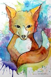 raposa/ tatuagem para paula/ aquarela enanquim em papel canson 300gm/ 21x30cm/ original disponível/ semterritório