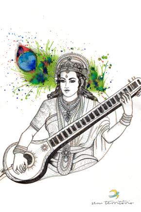 saraswati/nanquim, aqualine e lápis com ponta tricolor (azul, vermelho e amarelo) em papel montval 300gm/ 30x42cm/Original vendido/semterritorio
