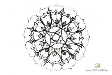 """Tatuagem para BiancaMandala a partir de uma microalga """"Pediastrum simplex"""" - tatuagem/ nanquim em papel vegetal/ 21x30cm/ original indisponível/ semterritorio"""
