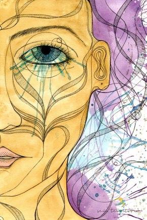 o olho da pupila/ nanquim, aquarela e maquiagem em papel canson 300gm/ 21x30cm/ original vendido/ semterritorio