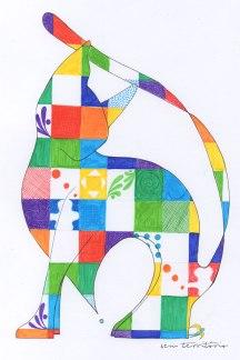 gato colorido/ nanquim e caneta stabilo/ 21x30cm/ original vendido/ semterritorio
