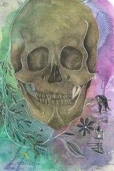 crânio/ grafite, aquarela e caneta posca em papel canson 300gm/ 21x30cm/ original disponível/ semterritorio