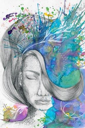 colapso nervoso/ grafite, aquarela e nanquim branco/ papel canson 180gm/ 21x30cm/ original disponível para venda/ semterritorio