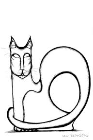 gato/ nanquim em papel sulfite 180gm/ 20x30cm/original disponível/semterritorio