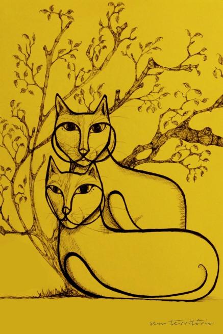 gato/ nanquim em moleskine/ 20x30cm/original indisponível/semterritorio