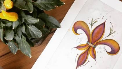 Flor de Lis/ aquarela em papel montval 300gm/ 21x30cm/ sem territorio