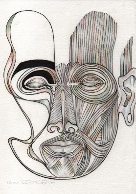 mascara 01/ nanquim e lápis de ponta tricolor em papel montval 300gm/ 21x30cm/ semterritorio