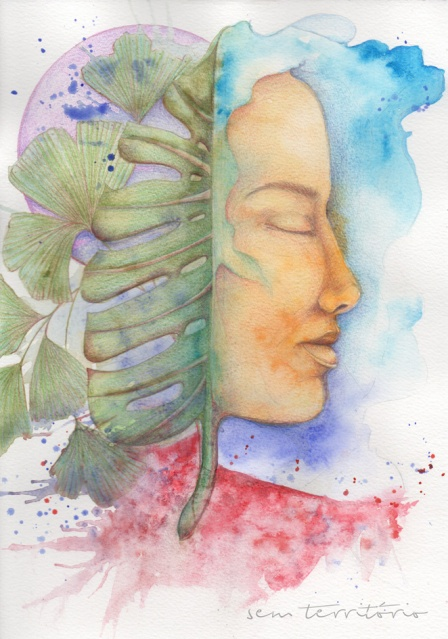 mascara 10/ aquarela e lápis de cor em papel montval 300gm/ 21x30cm/ semterritorio