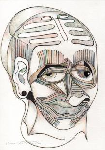 mascara 02/ nanquim e lápis de ponta tricolor em papel montval 300gm/ 21x30cm/ semterritorio