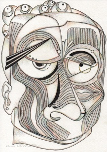 mascara 03/ nanquim e lápis de ponta tricolor em papel montval 300gm/ 21x30cm/ semterritorio
