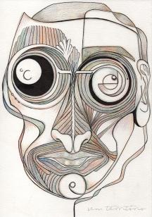 mascara 04/ nanquim e lápis de ponta tricolor em papel montval 300gm/ 21x30cm/ semterritorio