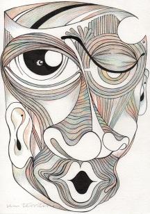mascara 05/ nanquim e lápis de ponta tricolor em papel montval 300gm/ 21x30cm/ semterritorio
