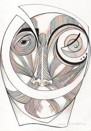 mascara 06/ nanquim e lápis de ponta tricolor em papel montval 300gm/ 21x30cm/ semterritorio