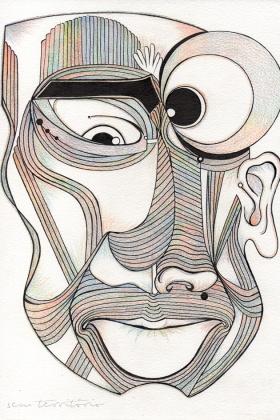 mascara 07/ nanquim e lápis de ponta tricolor em papel montval 300gm/ 21x30cm/ semterritorio