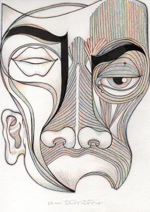mascara 08/ nanquim e lápis de ponta tricolor em papel montval 300gm/ 21x30cm/ semterritorio