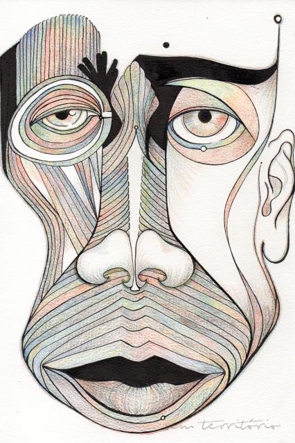 mascara 09/ nanquim e lápis de ponta tricolor em papel montval 300gm/ 21x30cm/ semterritorio
